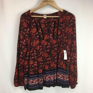 NEW Old Navy Womens Top Tunic Peasant S Red Deer B
